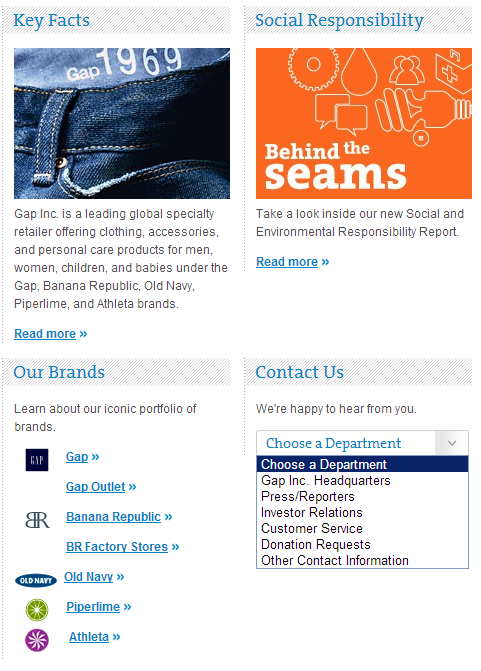 Gap Inc - About Us (screenshot)