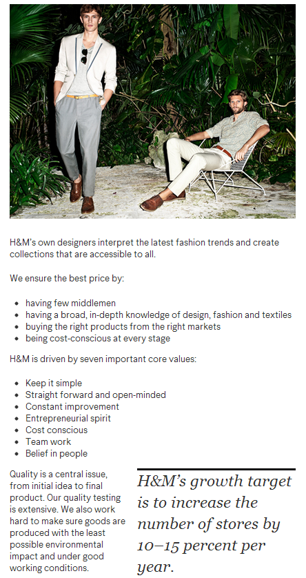 H&M about us - growth target screenshot